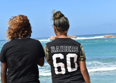 two girls looking at the ocean with their backs facing the camera